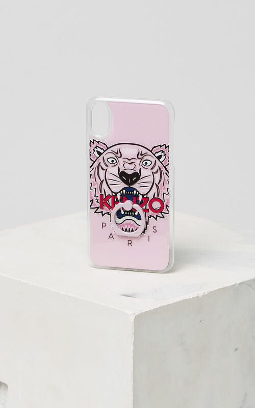 FADED PINK 3D Tiger iPhone X case with ring for unisex KENZO