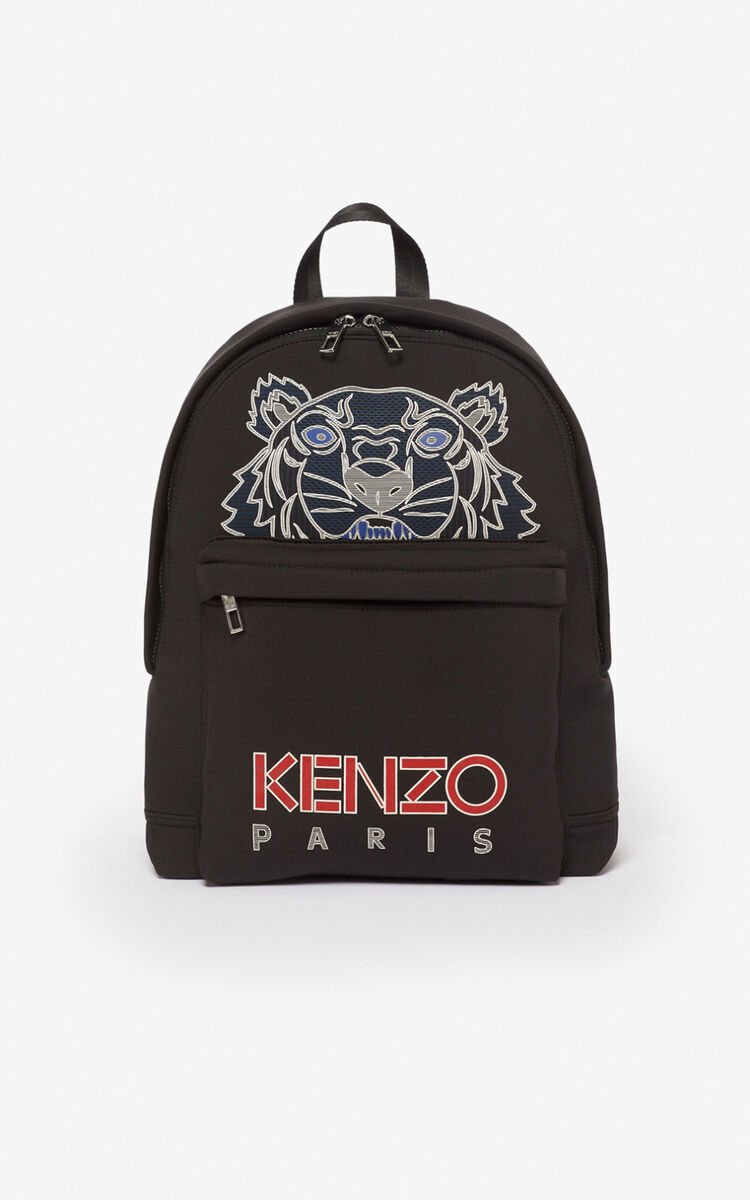 BLACK Large neoprene Tiger backpack for unisex KENZO