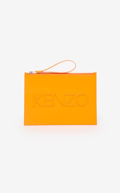 MEDIUM ORANGE KENZO Kontrast A4 clutch for unisex