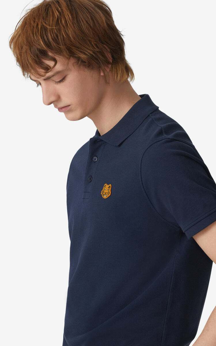 NAVY BLUE Tiger Crest polo for women KENZO
