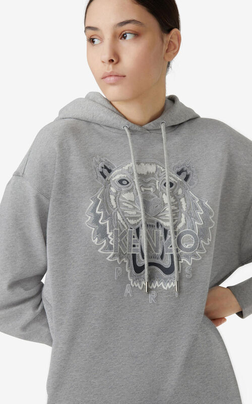 PEARL GREY Tiger Flock hooded sweatshirt dress for men KENZO