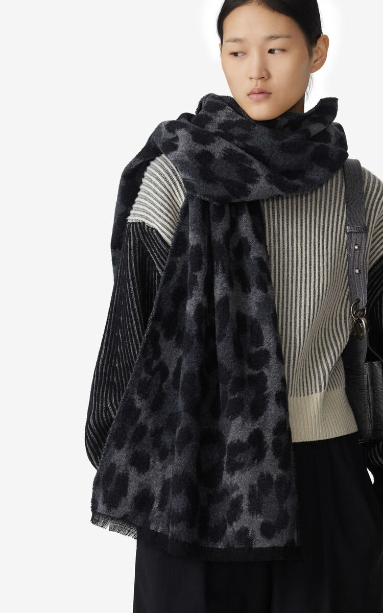 STONE GREY 'Leopard' wool scarf for unisex KENZO
