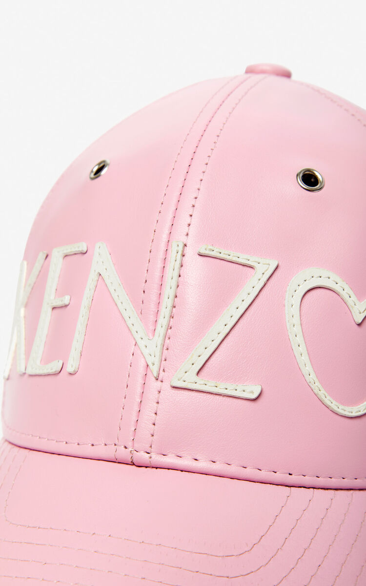 PASTEL PINK KENZO logo leather cap for unisex