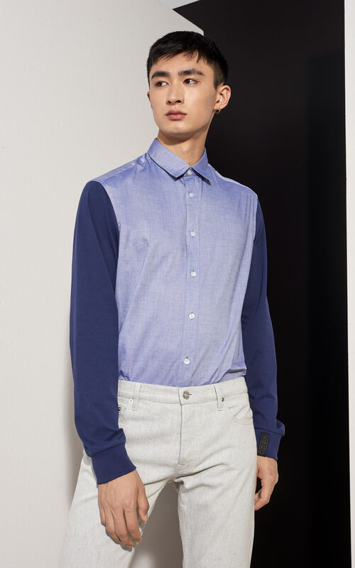 MIDNIGHT BLUE Jersey Sleeves Shirt for men KENZO