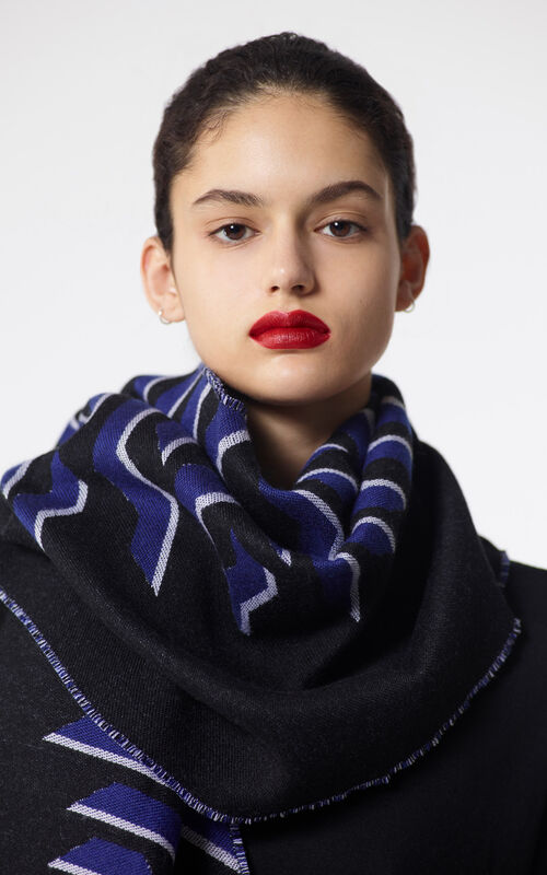 BLACK 'Geo Tiger' wool scarf for women KENZO