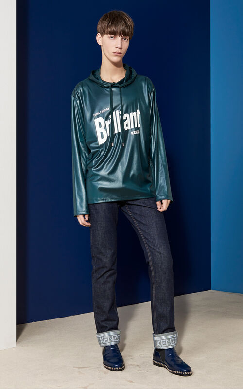 Brilliant Lacquered Tech Hoodie , BOTTLE GREEN, KENZO