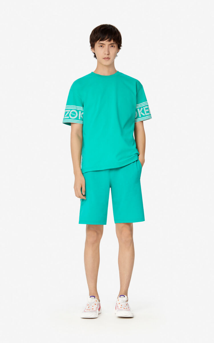 MINT KENZO Logo Shorts for global.none