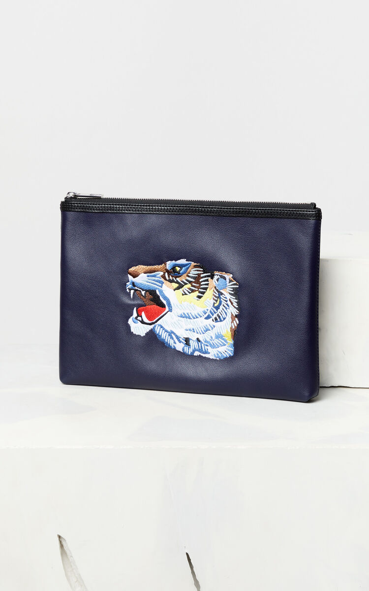NAVY BLUE Leather 'Tiger Head' A4 clutch 'Go Tigers Capsule' for unisex KENZO