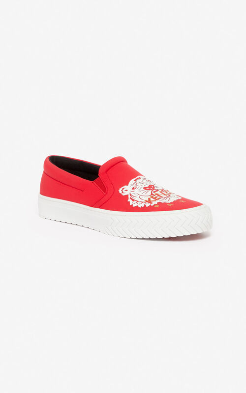 MEDIUM RED 'Chinese New Year Capsule' K-skate Tiger slip-ons for unisex KENZO