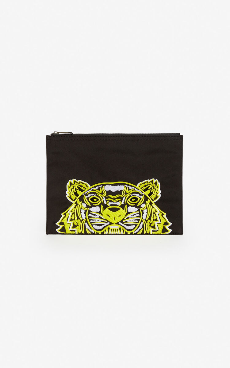BLACK A4 Tiger clutch 'High Summer Capsule collection' for men KENZO