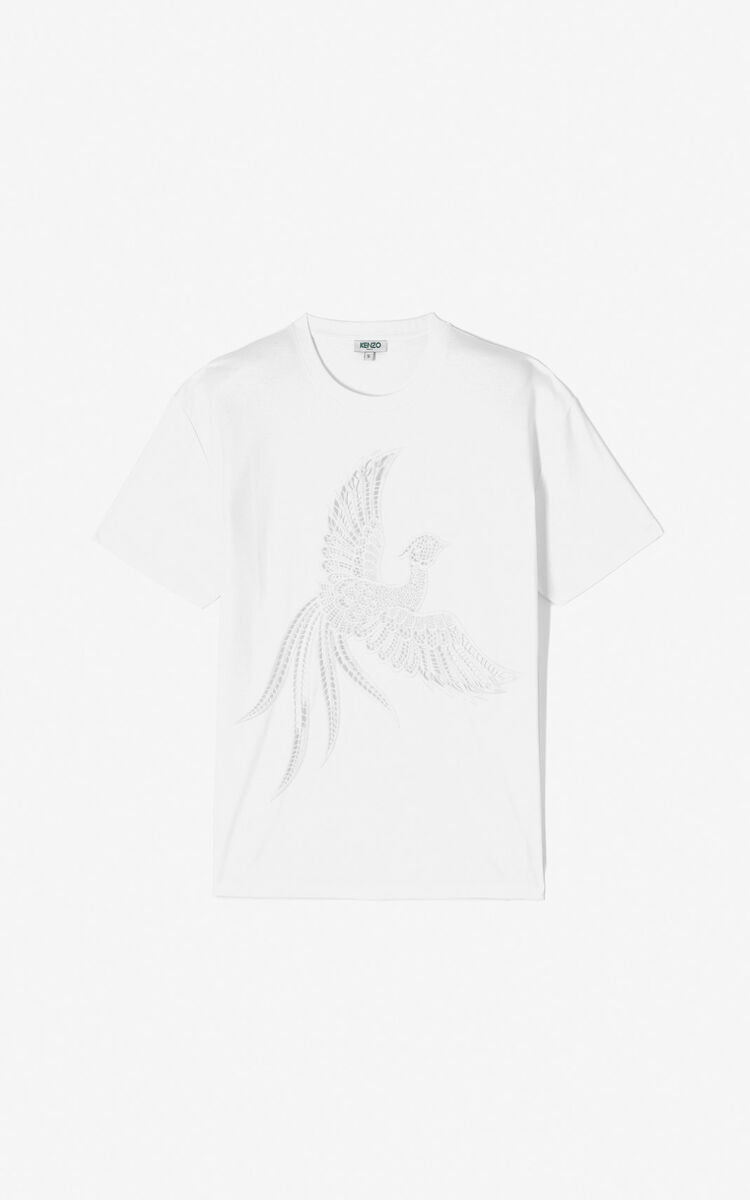WHITE 'Flying Phoenix' t-shirt for women KENZO
