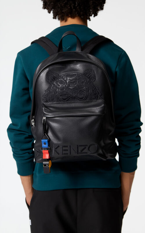 BLACK Tiger backpack in leather for women KENZO