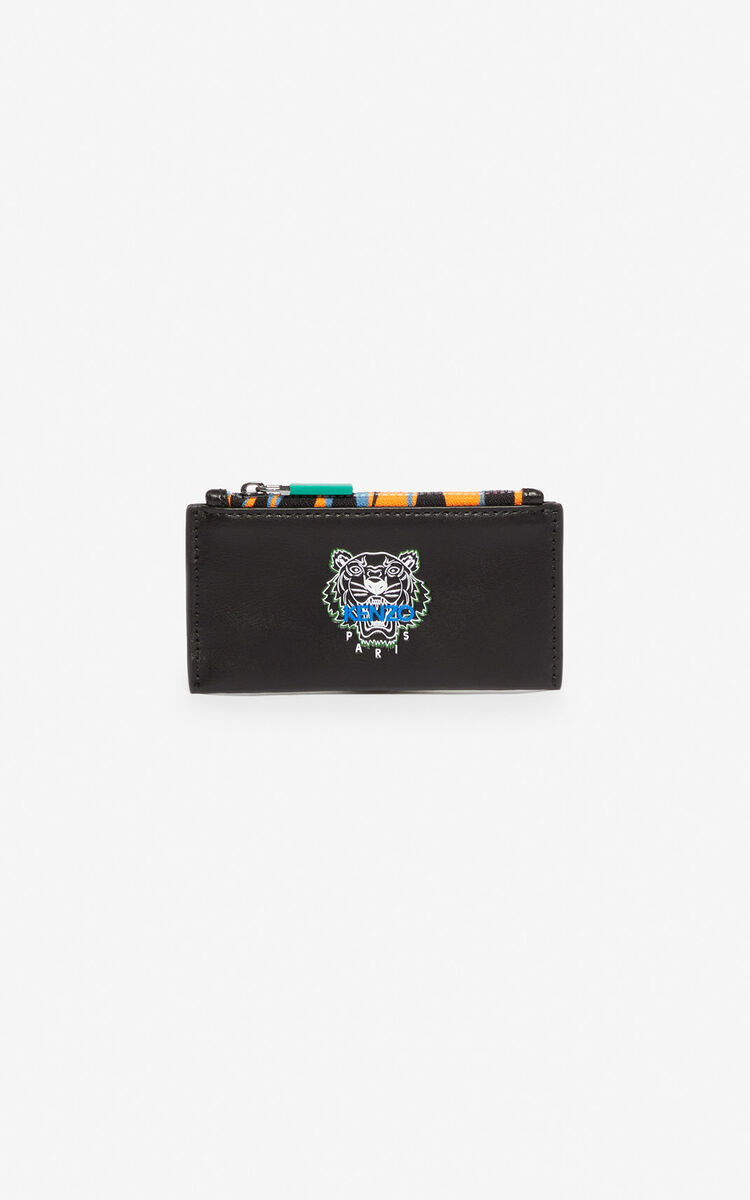 BLACK 'Tiny Tiger' zipped leather card holder for unisex KENZO