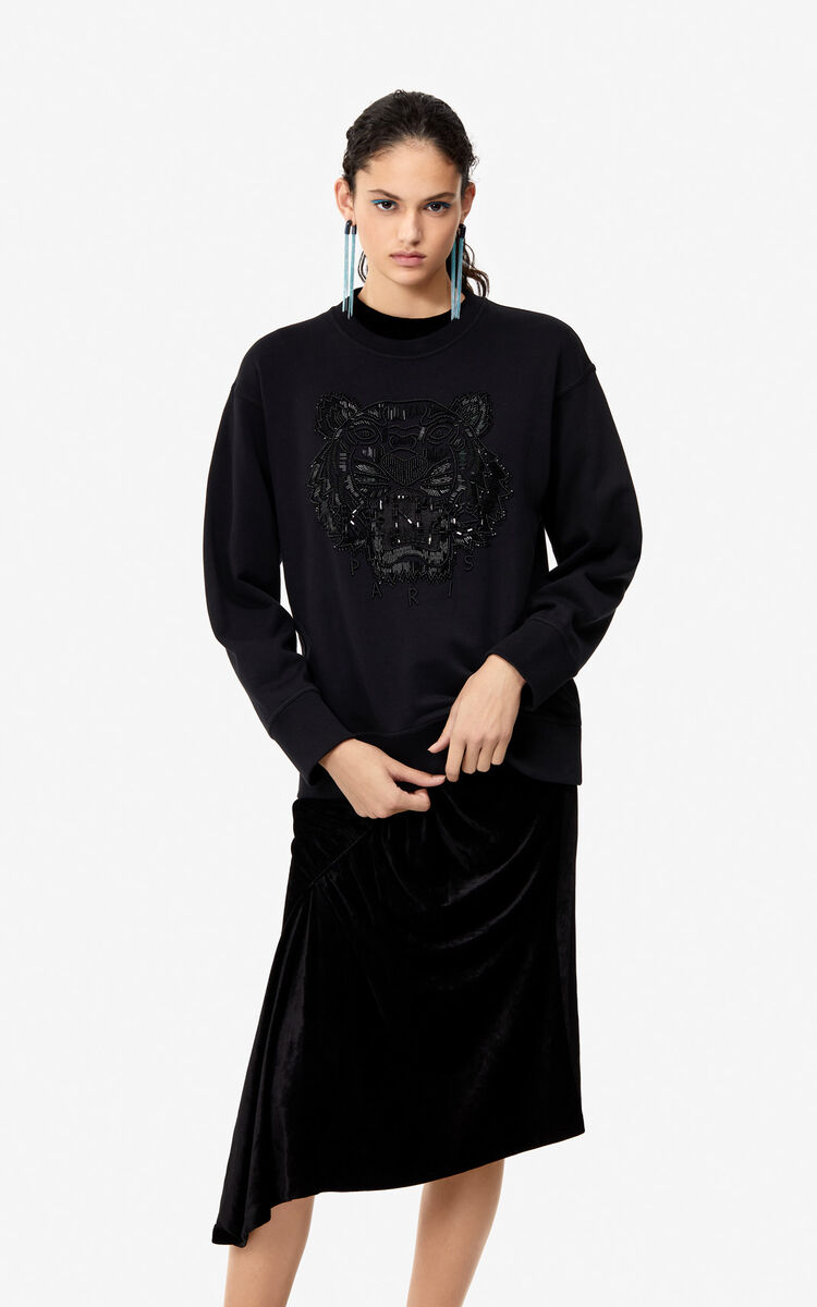 BLACK Hand-embroidered Tiger sweatshirt 'Holiday Capsule' for women KENZO