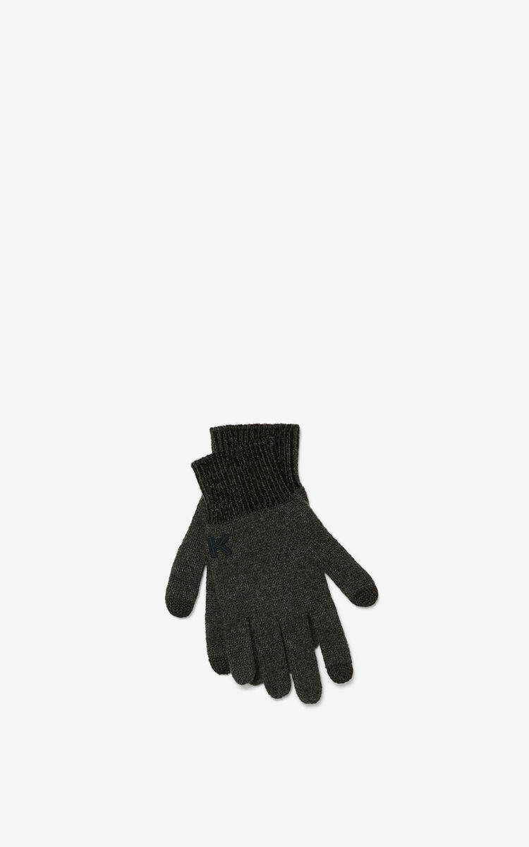 BLACK K Logo gloves for women KENZO
