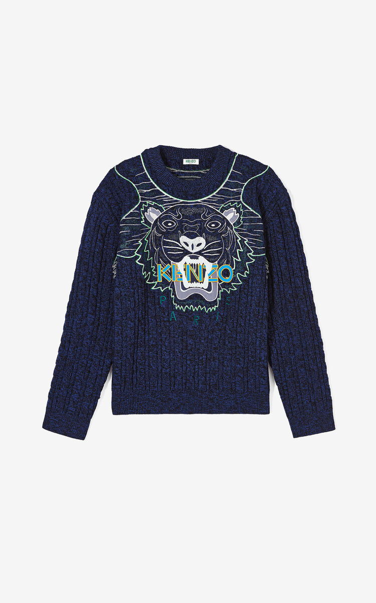 NAVY BLUE 'Claw Tiger' wool jumper for men KENZO