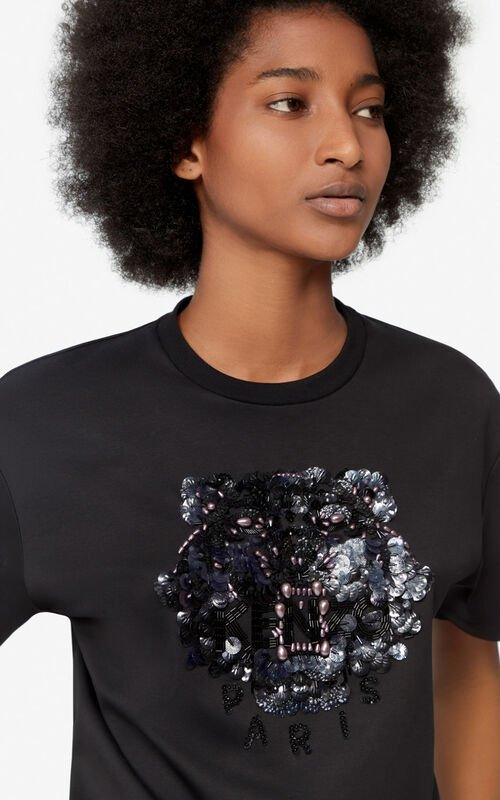 BLACK Sequined Tiger t-shirt for women KENZO