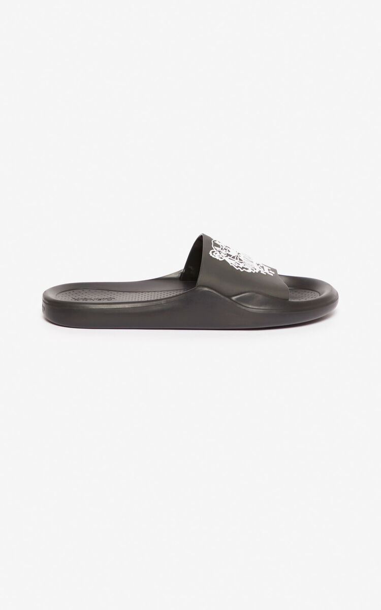 BLACK Tiger pool mules  for unisex KENZO