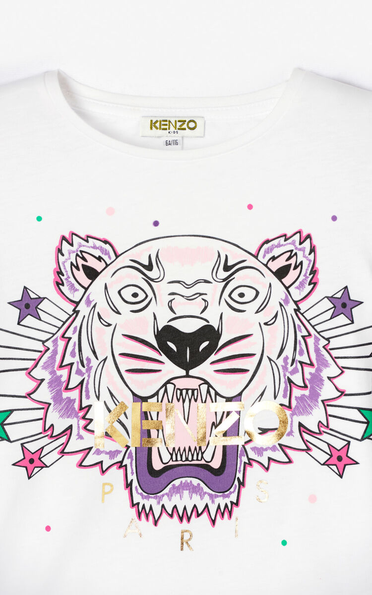 WHITE 'Super Tiger' T-shirt for men KENZO