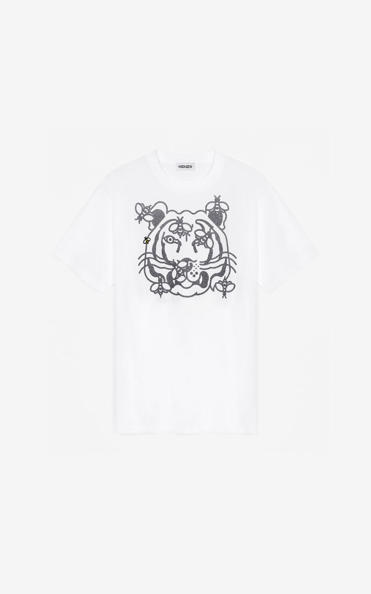 WHITE 'Bee a Tiger' oversize T-shirt     for women KENZO