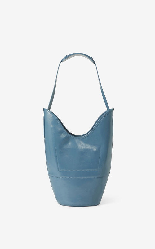 BLUE KENZO Onda leather bucket bag for unisex