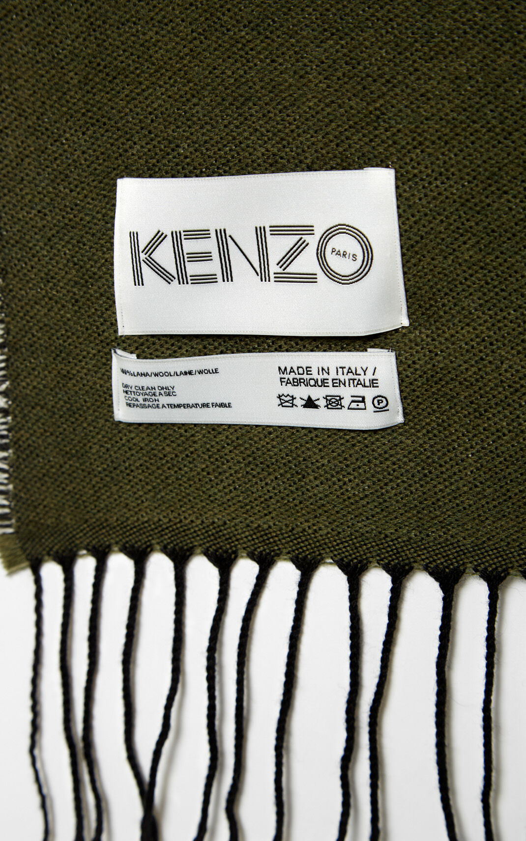 DARK KHAKI Geo Tiger Wool Scarf for men KENZO