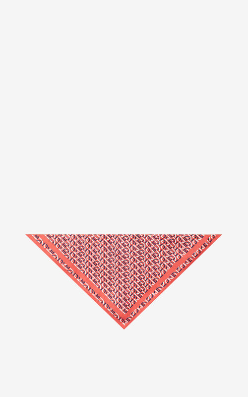 RED ORANGE Silk bandana mask holder for unisex KENZO