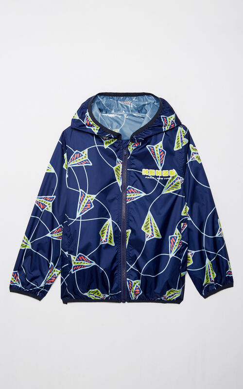 NAVY BLUE 'Paper Planes' waterproof windbreaker for women KENZO
