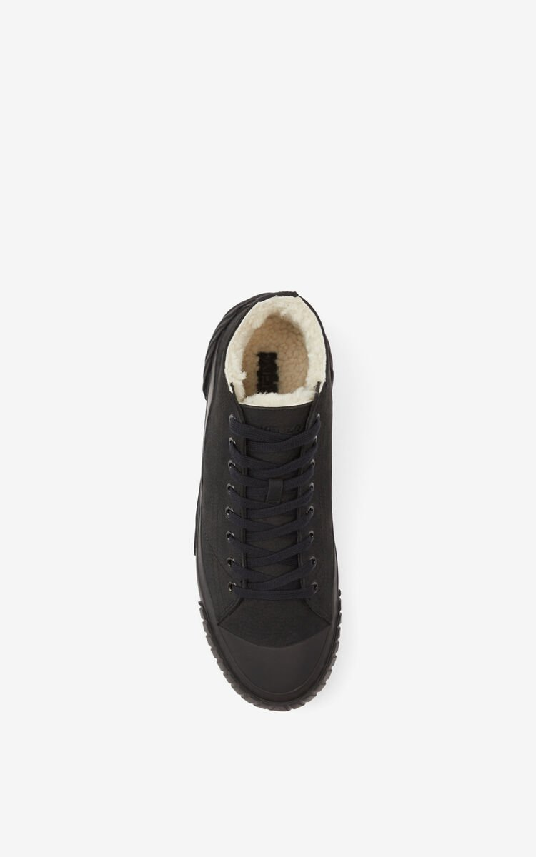 BLACK Tiger Crest leather high-tops for unisex KENZO