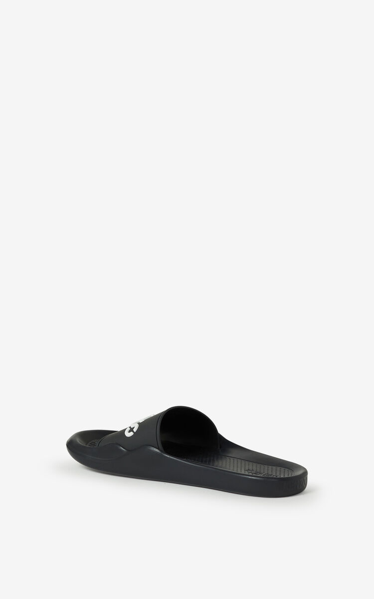 BLACK KENZO Logo Pool flip flops for men