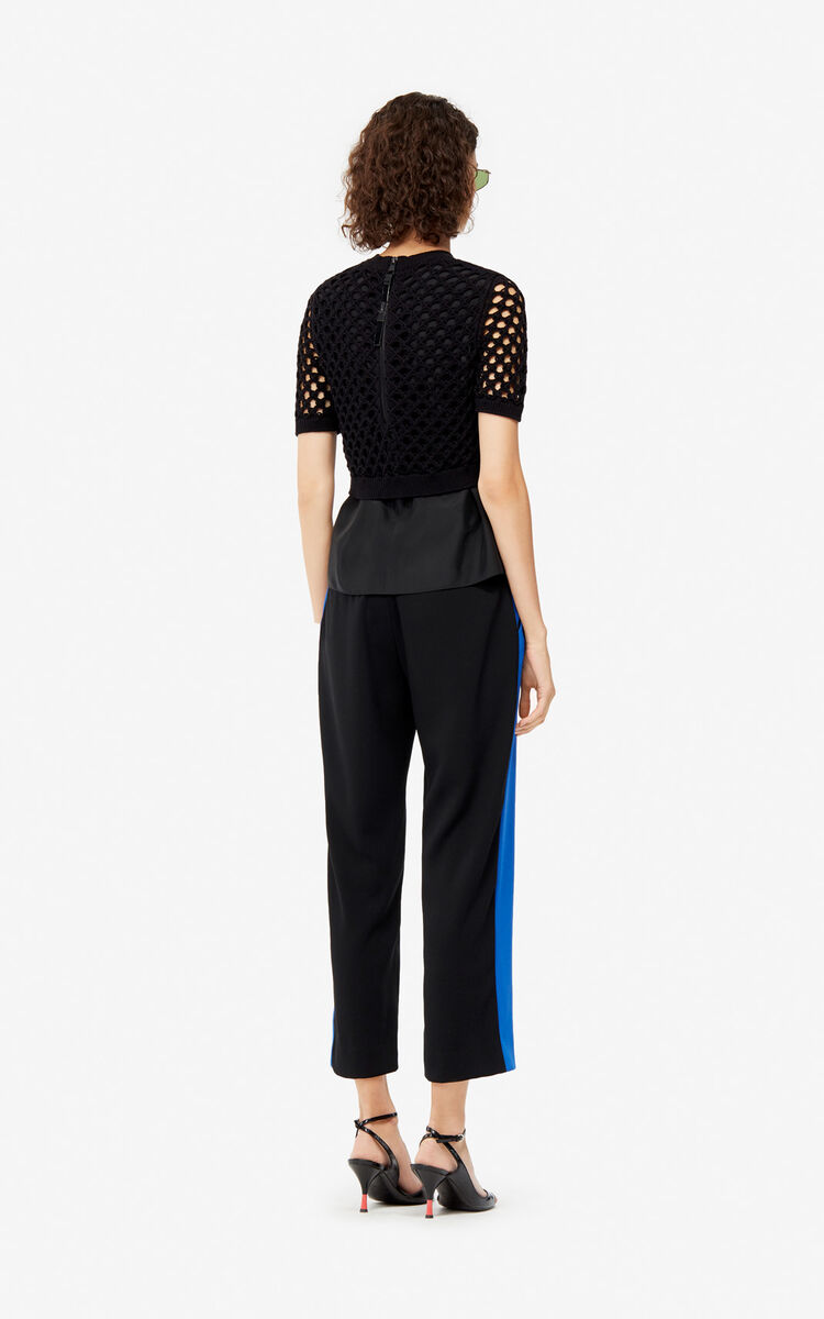 BLACK Dual-fabric top for women KENZO