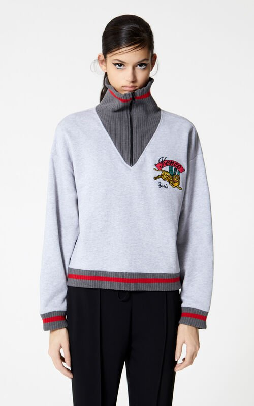 PEARL GREY 'Bamboo Tiger' boxy sweatshirt for women KENZO