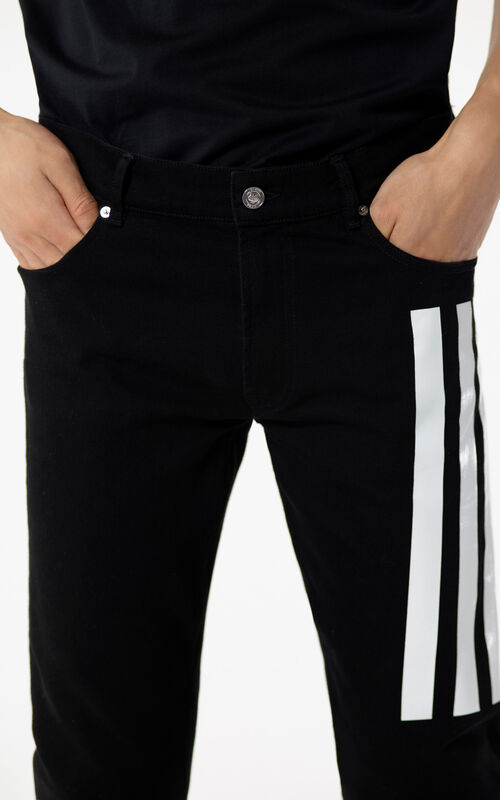 BLACK Striped skinny jeans for men KENZO