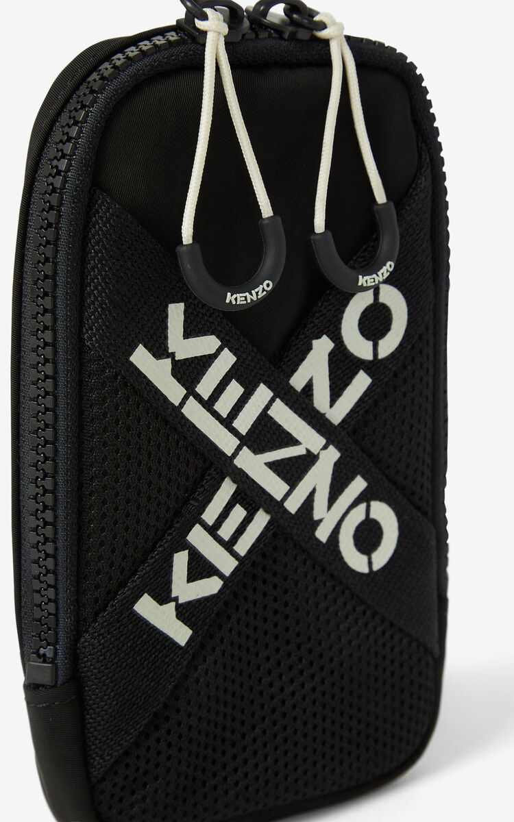 BLACK KENZO Sport crossbody phone holder for men