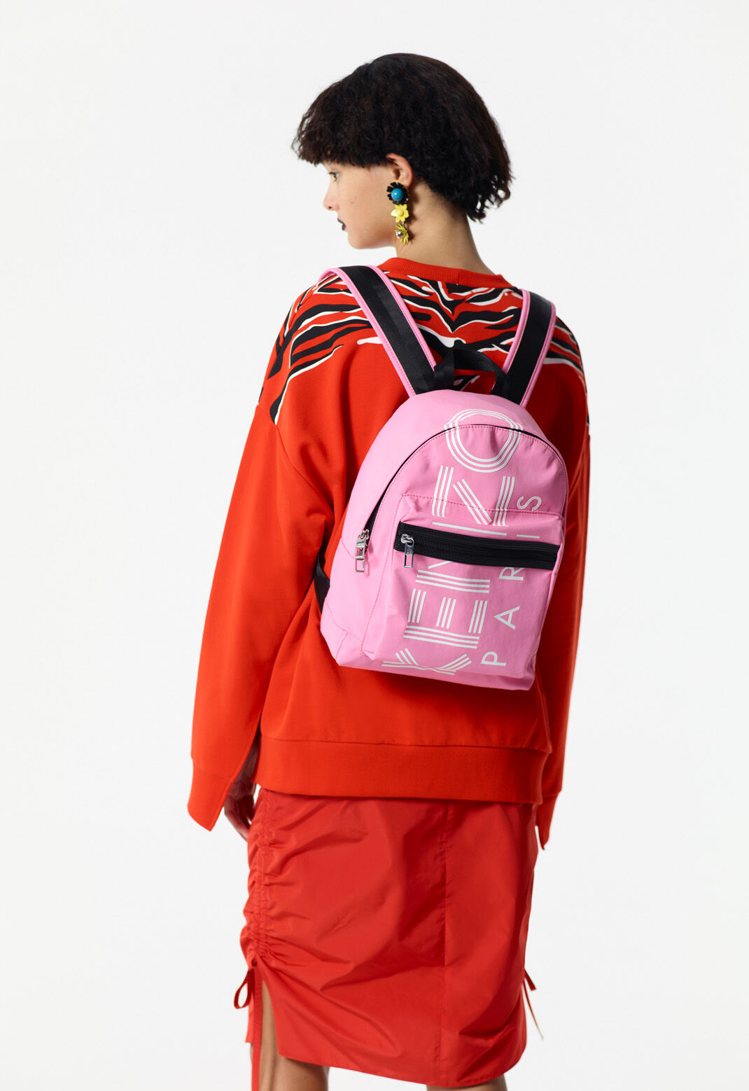 FLAMINGO PINK Medium KENZO Logo backpack for men