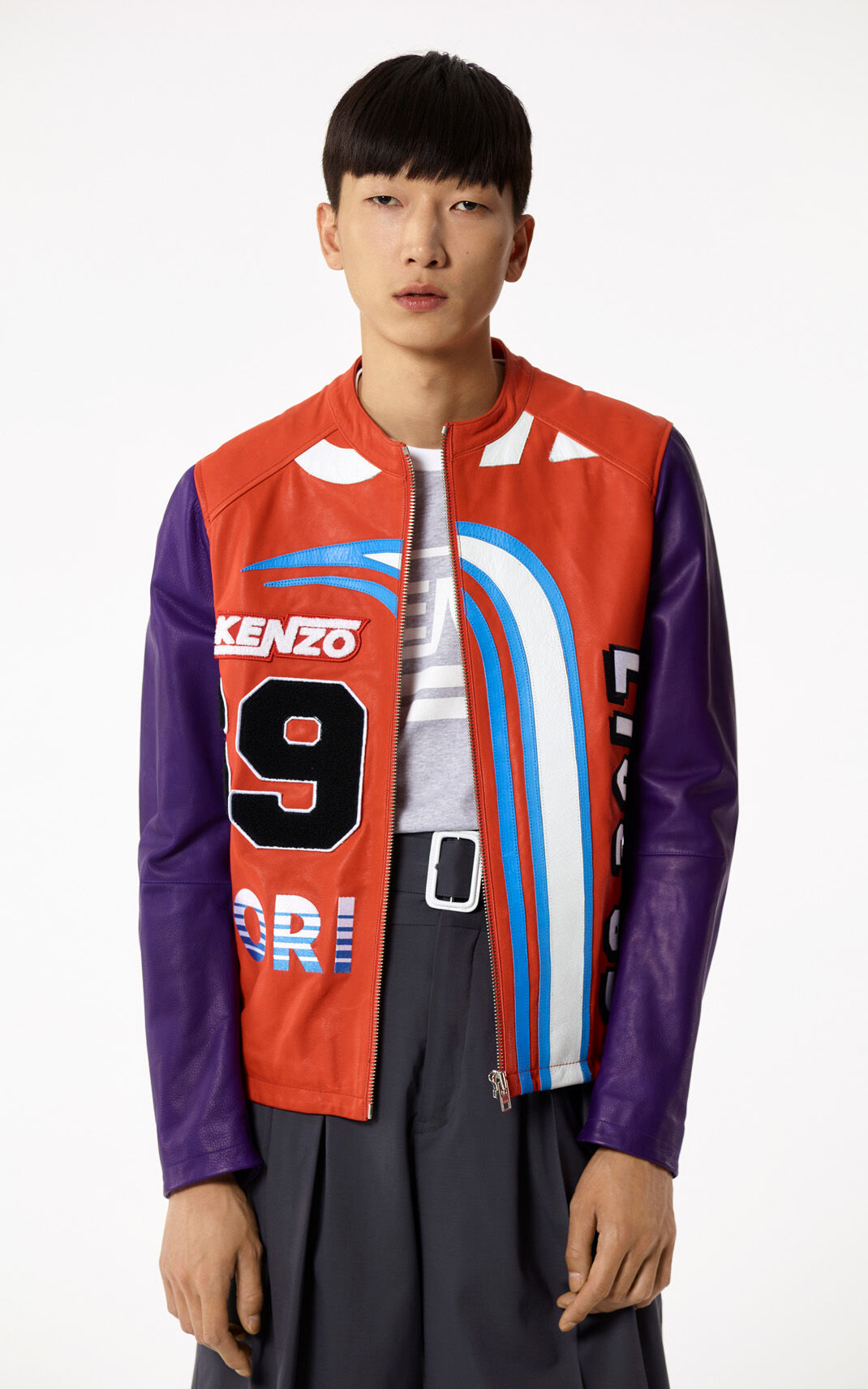 MEDIUM RED 'Hyper KENZO' Leather Jacket for men