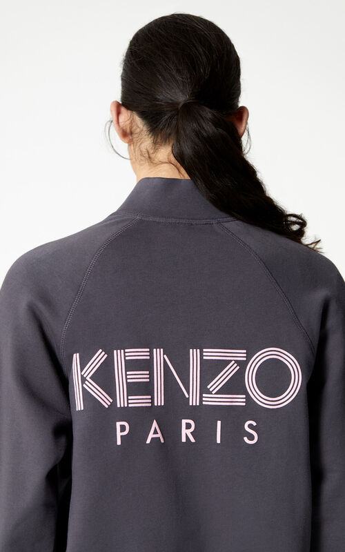 ANTHRACITE KENZO Logo zipped jacket for women