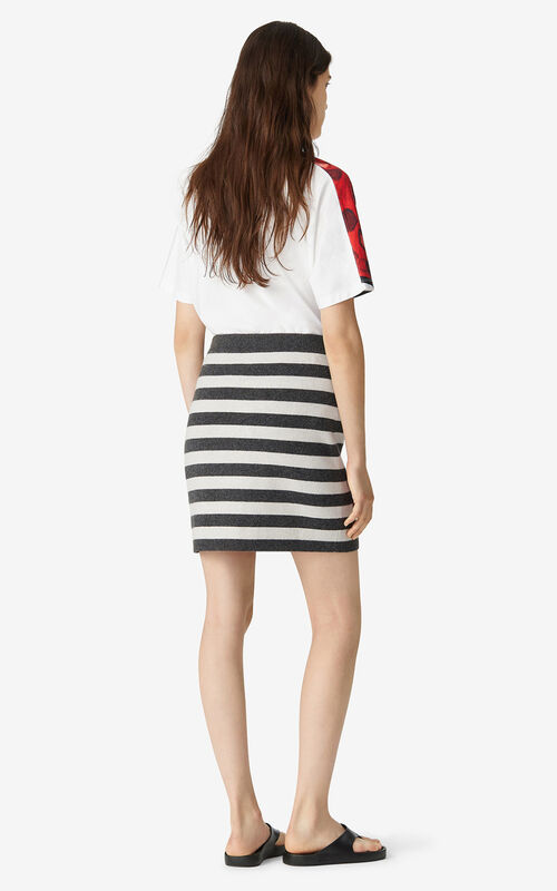 BLACK Striped wool mini skirt for men KENZO