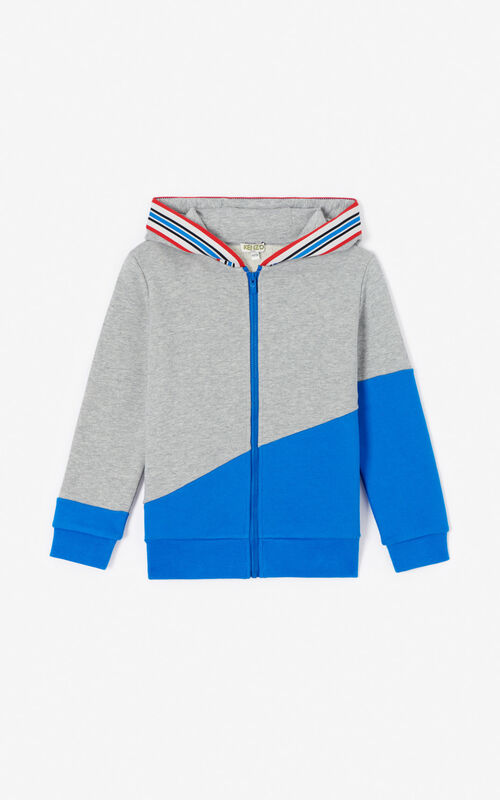 MISTY GREY KENZO Logo zipped hoodie for men