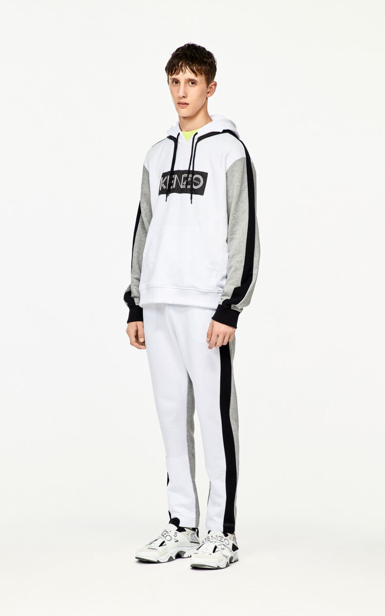 WHITE KENZO logo jogging trousers for global.none