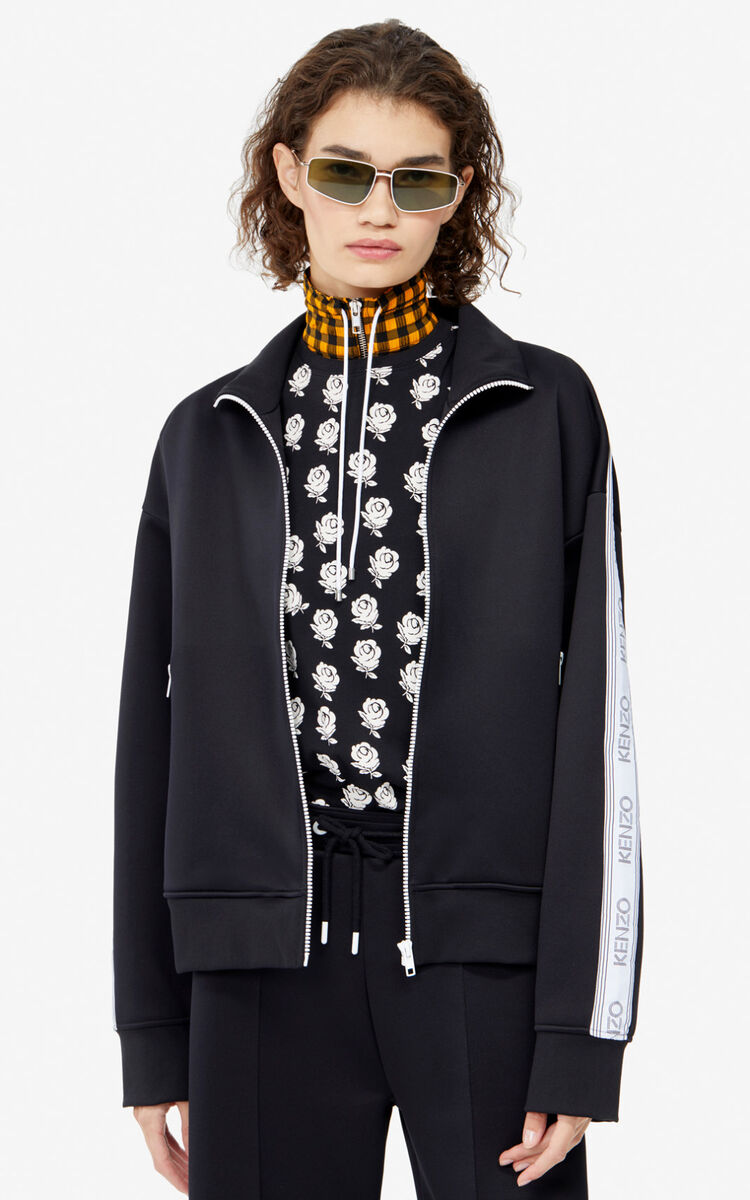 BLACK KENZO Logo jacket for women