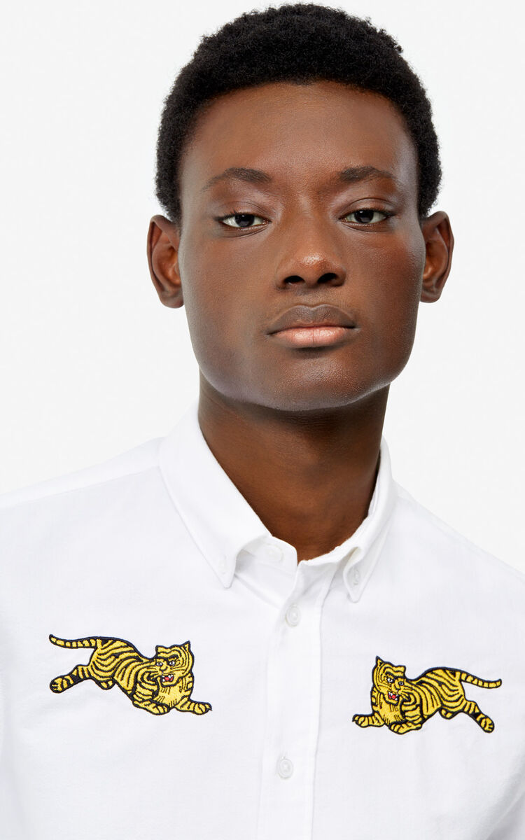 WHITE 'Jumping Tiger' casual shirt for men KENZO