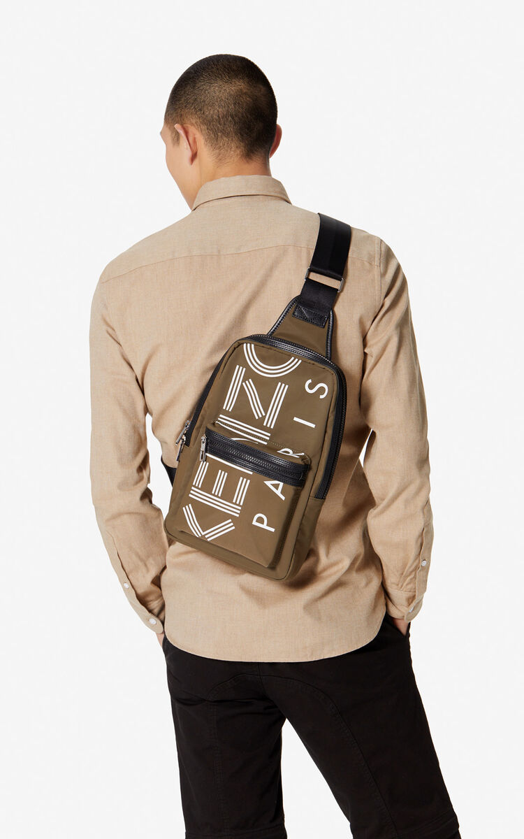 KHAKI 'Crew' KENZO logo cross-body bag for unisex