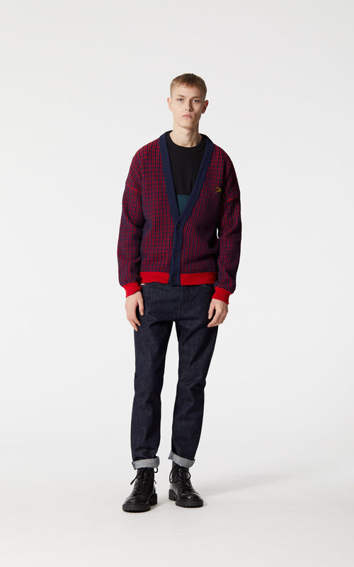 MEDIUM RED 'Jumping Tiger' checked cardigan for men KENZO