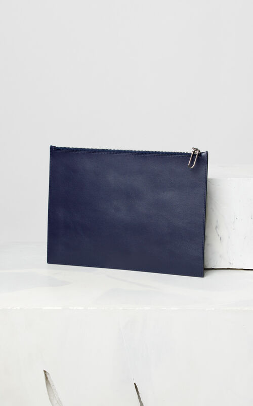 NAVY BLUE KENZO colorblock clutch for men