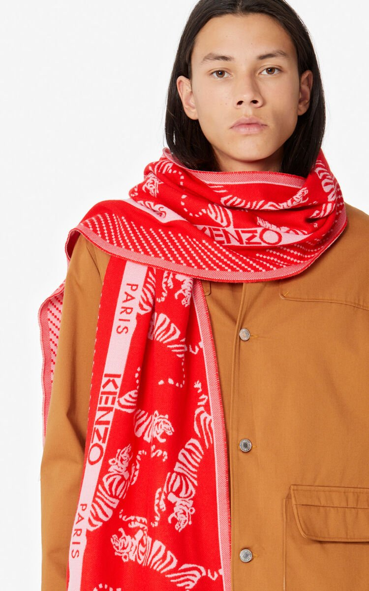 MEDIUM RED 'Jumping Tiger' wool scarf for unisex KENZO
