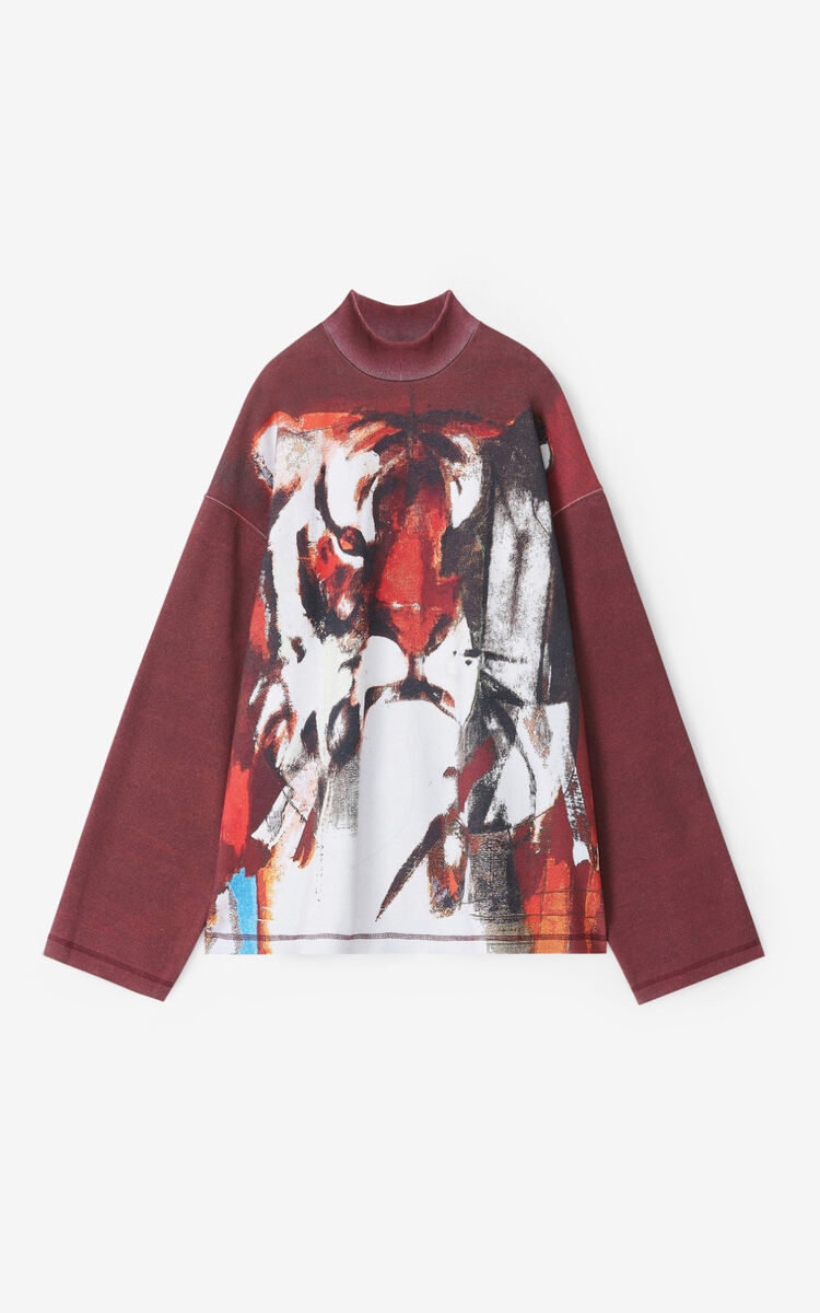 BORDEAUX Sweatshirt with Júlio Pomar illustration for women KENZO