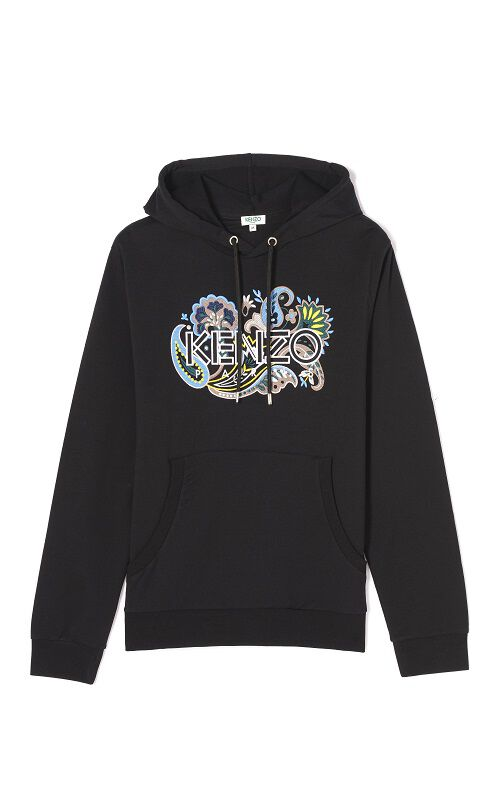 BLACK Kenzo Paisley Logo Embroidered Hoodie for men