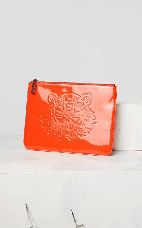 MEDIUM RED A4 Tiger patent clutch bag for women KENZO