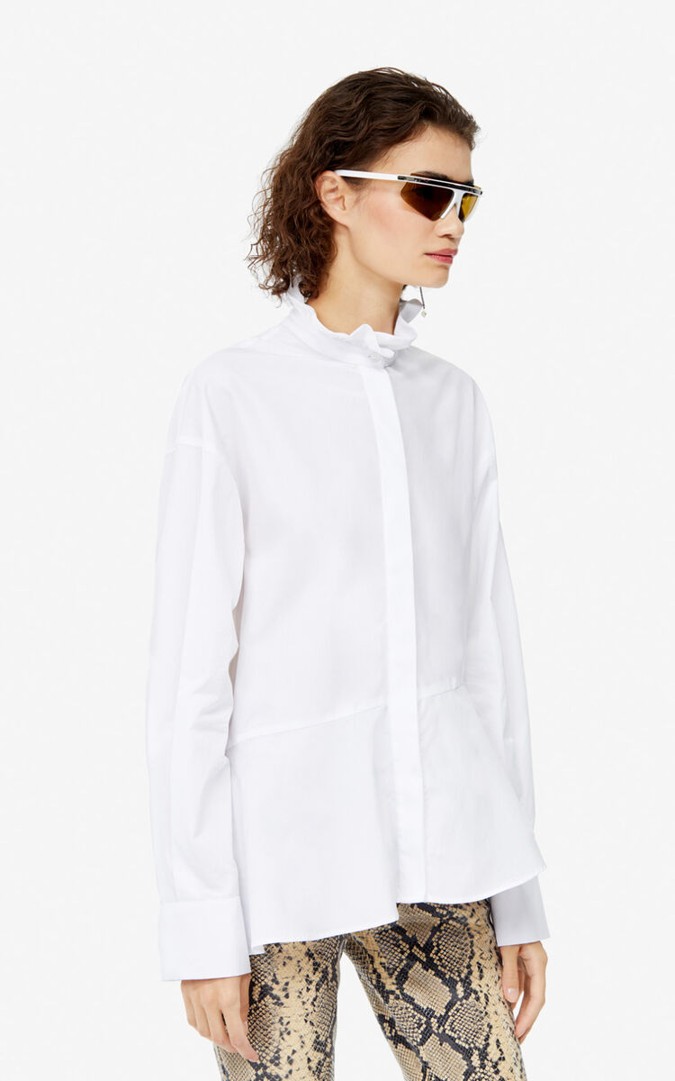 WHITE Asymmetric Victorian shirt for women KENZO